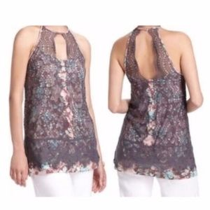 Anthropologie Postmark Lace Overlay Top Size XS